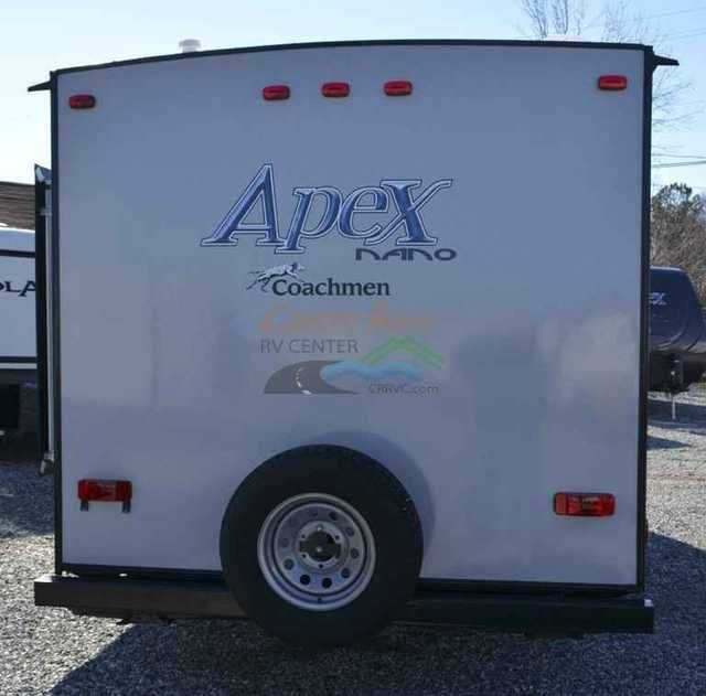 2016 New Coachmen Apex Nano 191RBS Travel Trailer in North Carolina NC.Recreational Vehicle, rv, 2016 Apex Nano 191RBS - Rear Bath w/Slide - Another lightweight plan from Apex! This one features a large rear bath, dinette slide-out and a queen bed. Large wardrobe in bathroom. Plenty of counter-space. Weighing only 3,400 lbs, this unit can be towed by almost any vehicle. Sleeps 4.Options Included: Spare tire & carrier, Comfort Package: (13,500 BTU A/C, 20,000 BTU direct vent furnace, Manual…