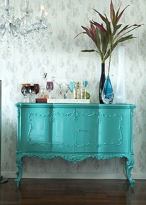 Tiffany's Blue; I love this!  (I need 20 rooms in my house to accommodate all my design fantasies!)