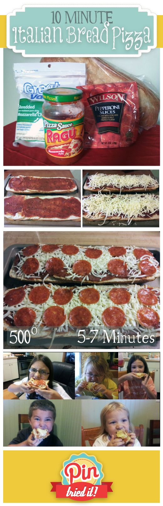 10 Minute Italian Bread Pizza Dinner. Easy and was super yummy. Fast to make and will definitely be made many times in the future.