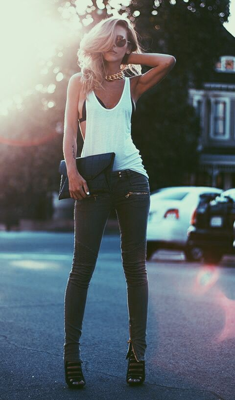 Very casual sexy!  White tee, bikini top and skinny jeans Women's spring fashion clothing  outfit for going out