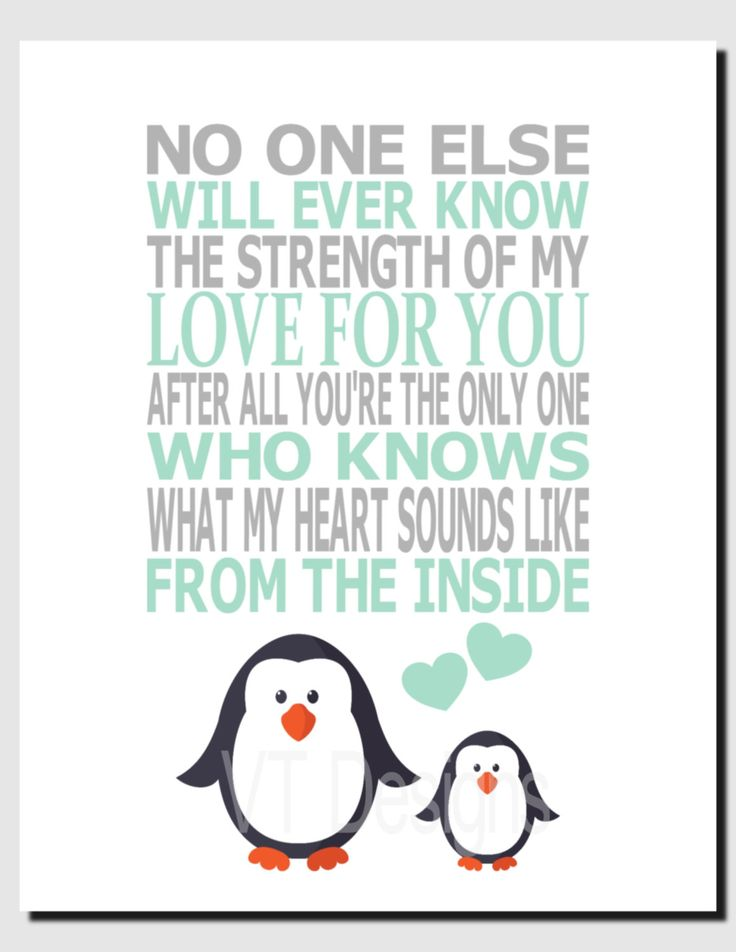 Penguin Nursery Art, Mint Gray Nursery Decor, Kids Wall Art, Baby Girl, Baby Boy, No One Else Will Ever Know the Strength of My Love, Print by vtdesigns on Etsy