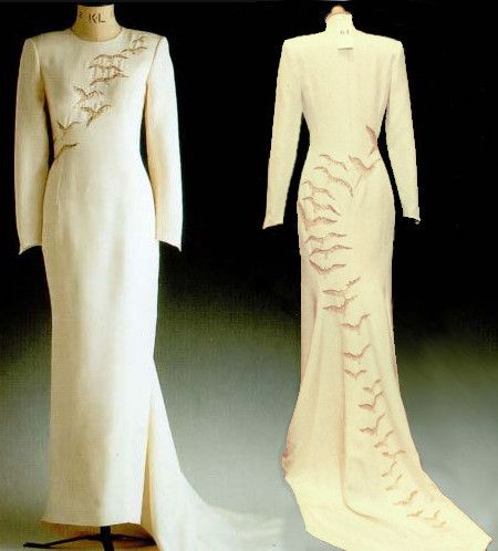 Cream silk dinner dress embroidered with gold and silver falcons. Worn on a state visit to Saudi Arabia. Designer: Catherine Walker Price raised at auction: $35,650