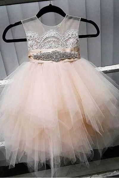 f53bea7959 A-Line Tulle Beads Appliques Scoop Blush Pink Button Cap Sleeve Flower Girl  Dresses PM888
