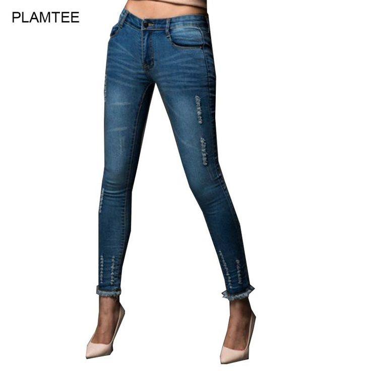 Women Thin Ripped Jeans Demim Pants