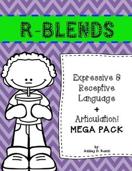 Articulation and Language: R Blends:This minimal-prep mega pack is filled with so many versatile activities. A comprehensive bundle that targets all areas: articulation, receptive & expressive language, vocabulary, phonics, grammar, and more! ( dr, pr, gr, br, tr, fr, cr )All printed in black/white to save you ink!click above to see the previewWhats included?70+ picture cards42 cards: receptive and expressive tasks: (repetition / wh-questions / social /   inferencing / synonyms / antonyms…