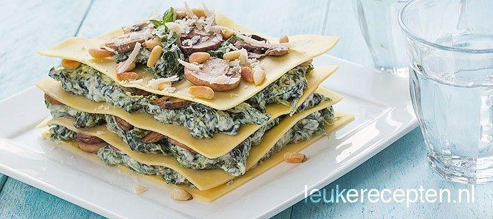 Vegetarische open lasagne met een frisse spinazie vulling met gebakken champignons