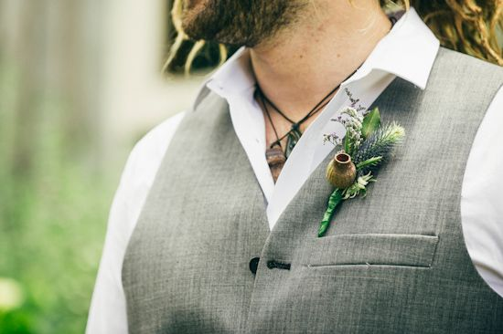 Love the Australian natives in this buttonhole arrangement so much! Kailey and Ethan's Bohemian Beach Wedding