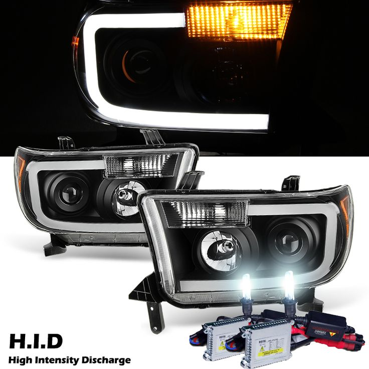 HID Xenon + 07-13 Toyota Tundra LED DRL Optic Projector Headlights - Black