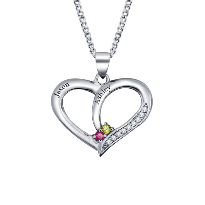 Post Included Aus Wide and to most international countries! >>>  Heart Sparkler Birthstone Necklace - 925 Sterling Silver