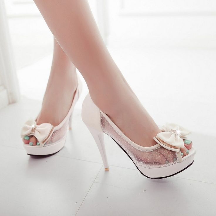 Beautiful Peep Toe Beige High Heel Sandals With Bow