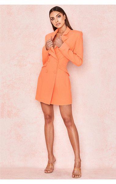 3cfbf80fcf1f Clothing : Jackets : 'Raven' Orange Crepe Blazer Dress | HOUSE CB ...