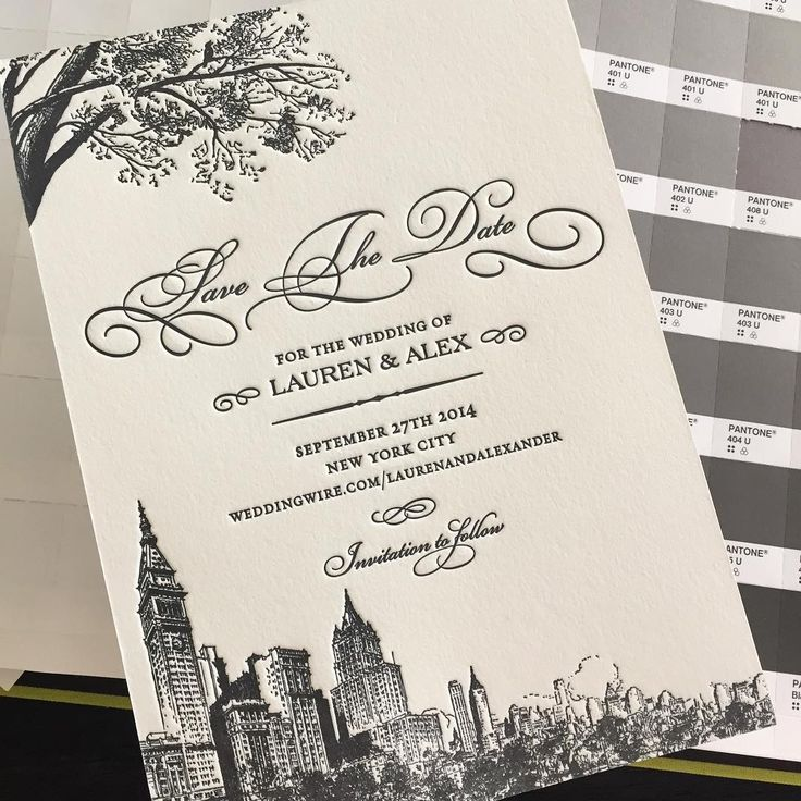 New York City Letterpress Wedding Save The Date