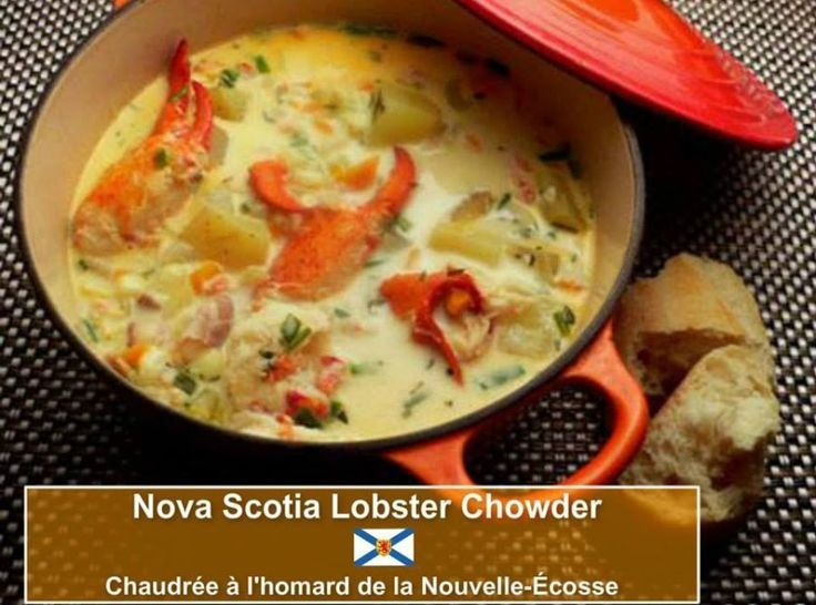Nova Scotia is one of Canada's three Maritime provinces. Nova Scotia holds a lot of historical sites. Quite a few well known singers originate from Nova Scotia such as Anne Murray, Rita MacNeil, April Wine, Sarah McLachlan just to name a few!!  This is a rich chowder packed with plenty of lobster. It can be served in small cups for a very special first course or in larger bowls as the centerpiece of an informal supper. The sour cream adds an unexpected and delicious tartness.