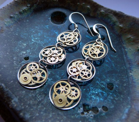 """Omega"" Triple Circle Recycled Mechanical Watch Gear Dangle Sterling Silver French Wire Hook Steampunk Earrings by amechanicalmind JM Gershenson-Gates on etsy. Love her work!"