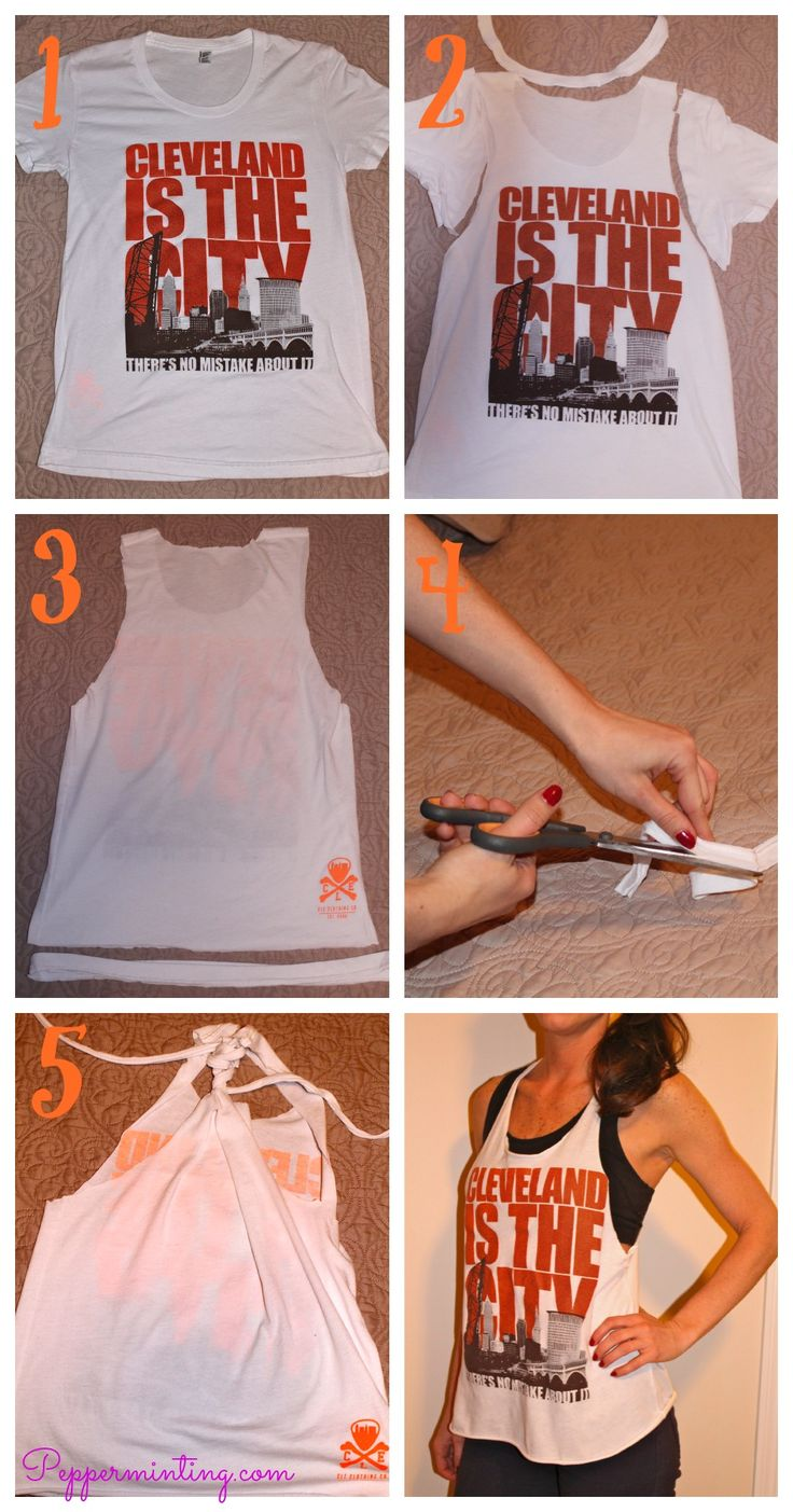 DIY! Cut an old tee shirt into a cute workout tank!