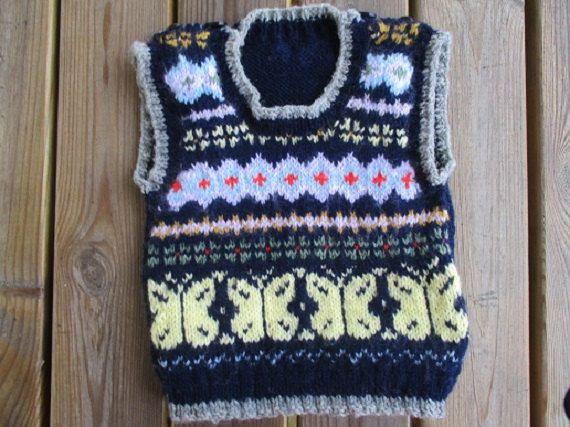 Baby fair isle tank top unisex vest handmade by WilverlyWoollens