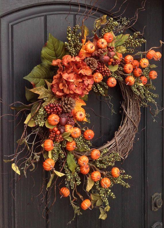Super Autumn Wreath-Autumn Wreath-Thanksgiving-Orange Berry-Grapevine Door Wreath-Pumpkin Grape-Acorn Pinecone-Indoor / Outdoor Decor