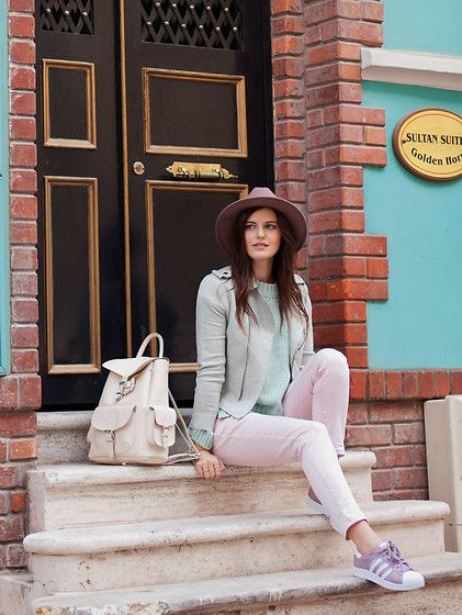 Get this look: http://lb.nu/look/8509641  More looks by Viktoriya Sener: http://lb.nu/viktoriyasener  Items in this look:  Catarzi Hat, Romwe Lacket, Romwe Sweater, Mango Jeans, Adidas Trainers, Mango Backpack   #casual #chic #street