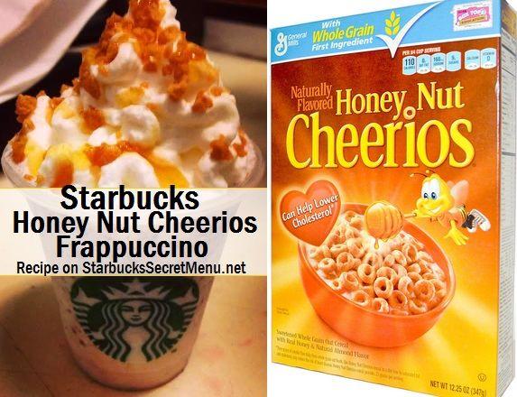 Starbucks Honey Nut Cheerios Frappuccino! Fun and tasty! #StarbucksSecretMenu Recipe here: http://starbuckssecretmenu.net/honey-nut-cheerios-frappuccino-starbucks-secret-menu/