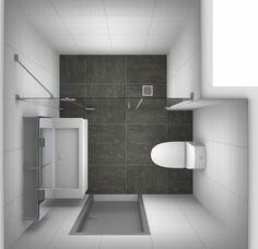 Kleine badkamer zonder raam.