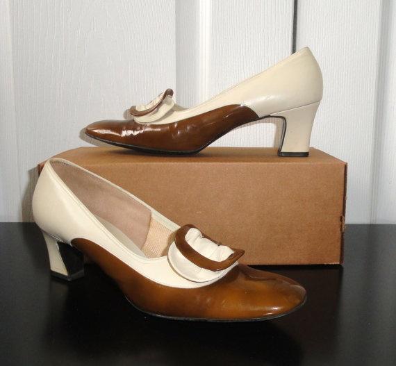 Items Similar To Vintage Shoes Socialite Secretary Shoes Brown U0026 Cream Two  Tone Buckle Heels Sz 8 On Etsy