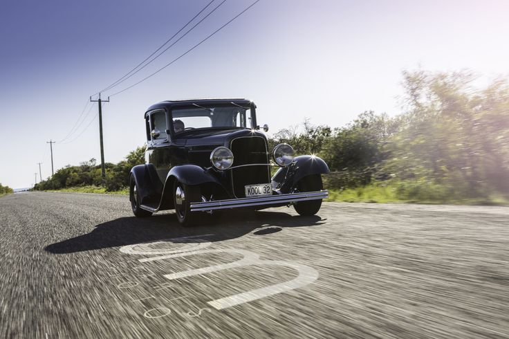 Editorial shoot on this Kool Blue '32 out on a coastal cruise.