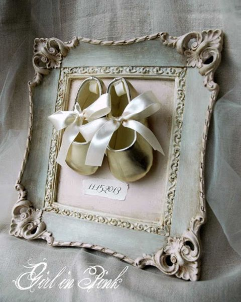 Showcase a special family event or memory by framing booties, baby shoes, a baby bonnet, a christening gown, or even a piece of lace from Grandma's wedding gown. You'll turn vintage clothing into a family history frame.