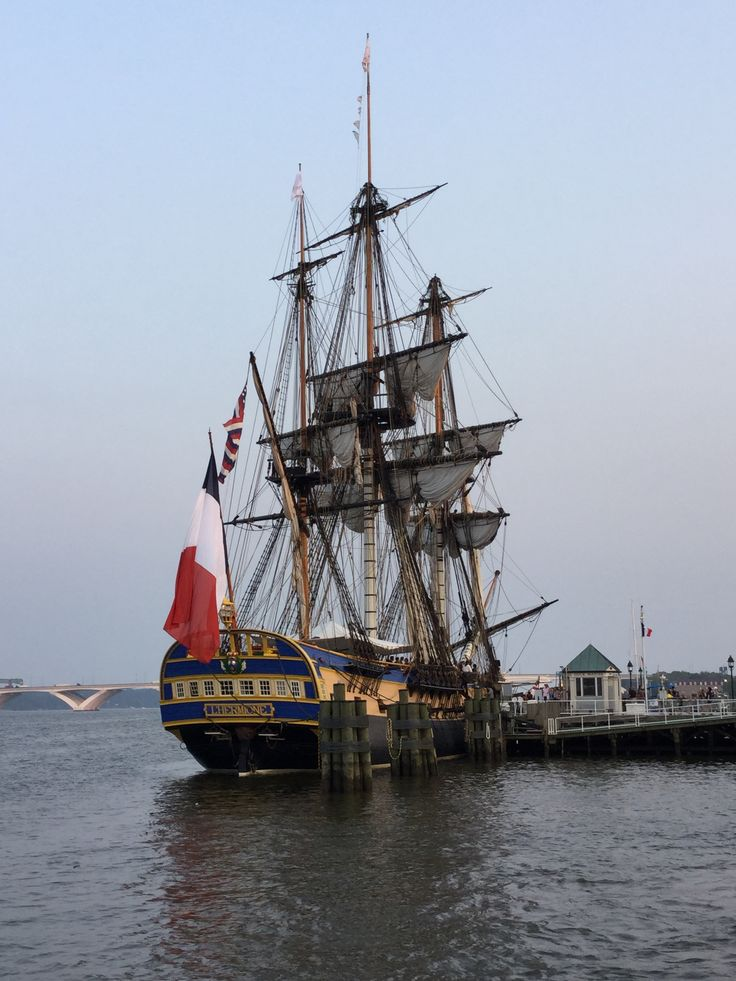 French tall ship L'HERMIONE pulled into Alexandria's Marina 6/10/15kls