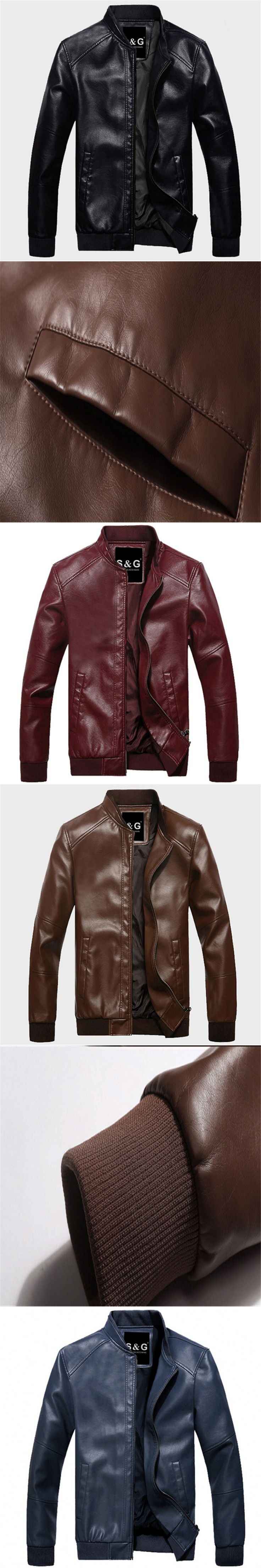 In the autumn of 2017 senior men PU leather thin leather jacket youth casual jacket slim Korean baseball uniform code