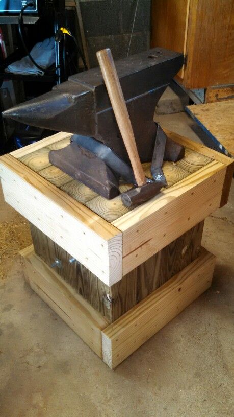 My Peter Wright 100# anvil on my design anvil stand.