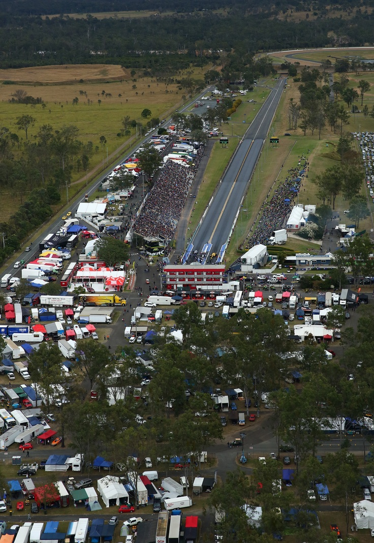 Day two of the FUCHS Winternationals at Willowbank Raceway - an aerial shot from Saturday afternoon. For info on Saturday's proceedings go to http://www.willowbankraceway.com.au/news/detail.aspx?ArticleID=299 Image - dragphotos.com.au