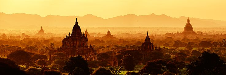 Thousands of Buddhist temples (and a single Hindu temple) dot the plains around Bagan, Burma.