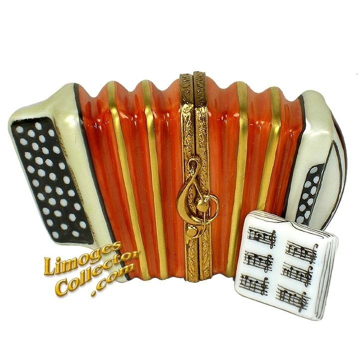 Accordion with Music Book Limoges Box by Beauchamp   LimogesCollector.com