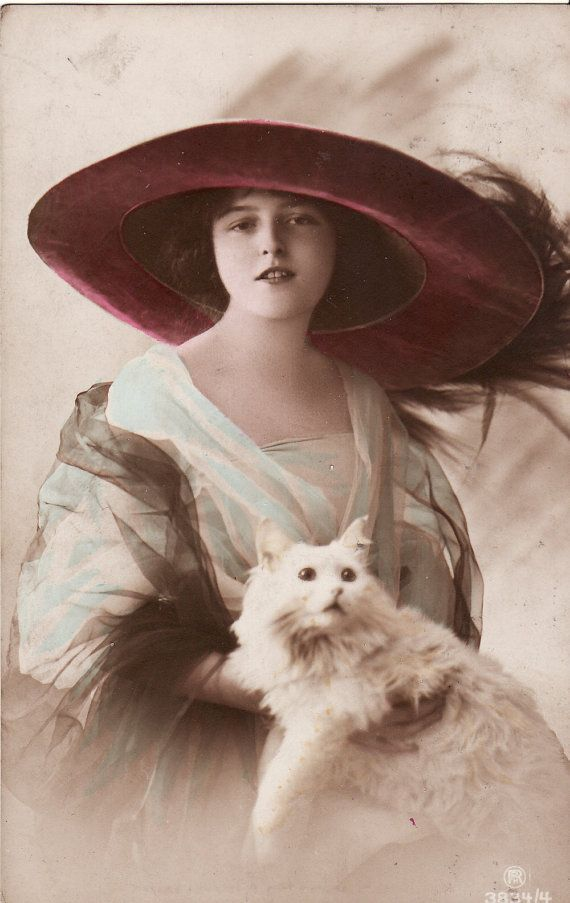 1913...Beautiful Edwardian Lady...Enormous Hat...White Cat...original vintage postcard...paper ephemera
