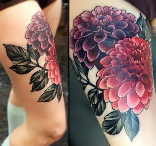 850f12fc5 20 Amazingly Colorful Flower Tattoo Designs   How to Tattoo?   Tattoo Love    Dahlia tattoo, Flower tattoo designs, Colorful flower tattoo