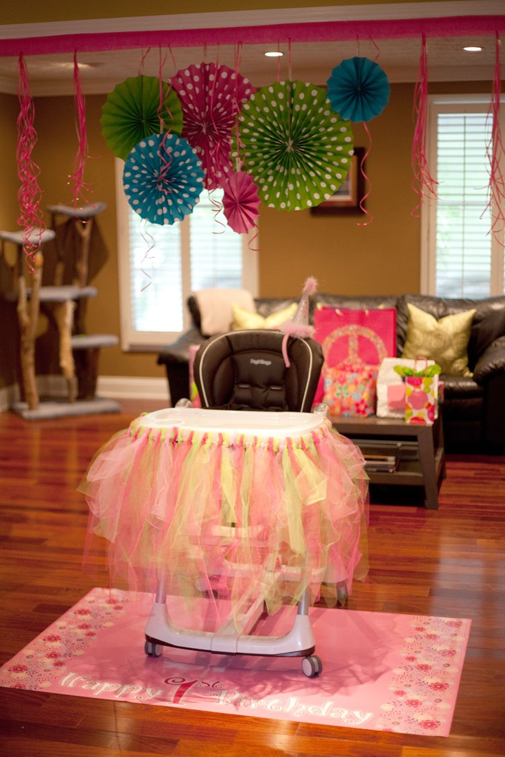 Olivias 1st birthday high chair decorations  Parties