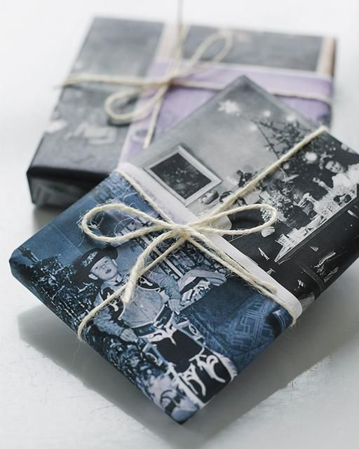 Beautiful wrapping idea for Christmas and all you need are some old Santa photos and a printer.   It doesn't get much more personal than this.   Love it!    Sweet Paul Holiday Countdown - Day 16: Custom Vintage Photo Giftwrap