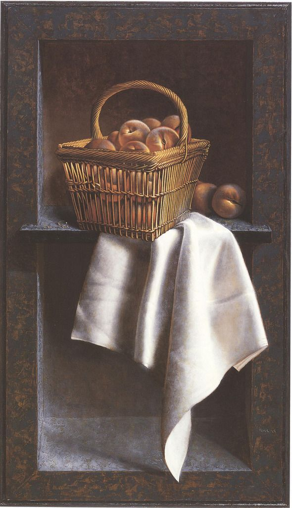 Henri Bol, Basket with peaches (trompe-l'oeil), 1994, still life - fruits - realism - art