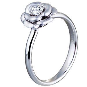 Помолвочное кольцо Роза из белого золота с бриллиантом