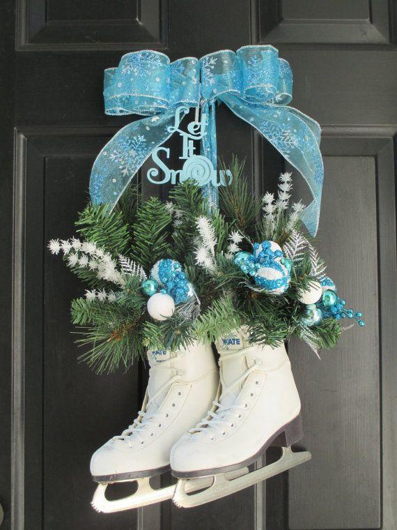 Christmas Wreath,Hanging Ice Skates,Blue and Silver Christmas Wreath,Christmas Ornament Wreath,Christmas Glitter Door Decor,Winter Pine