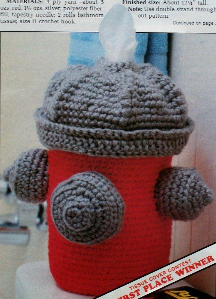 novelty+crochet | Fire Hydrant Tissue Box Cover, Novelty Decoration, Crochet Pattern