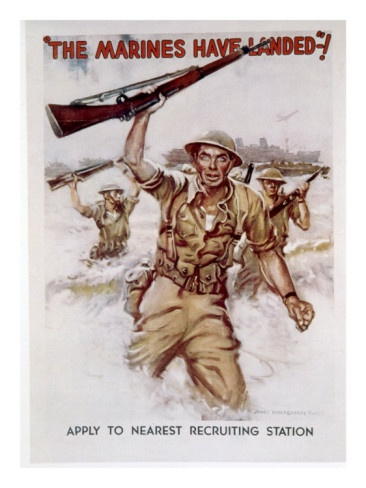 World War II, Marines Recruiting Poster by James Montgomery Flagg, 1942