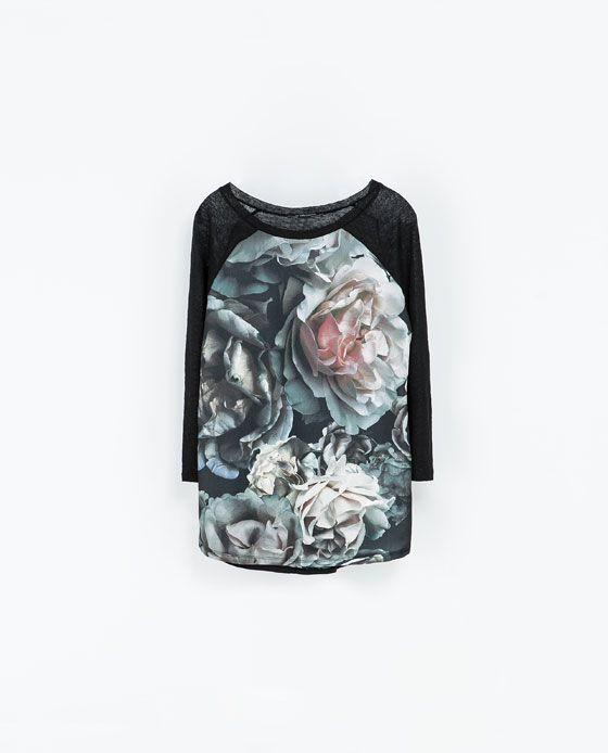 ZARA的图片 4 名称 印花亞麻 T 恤
