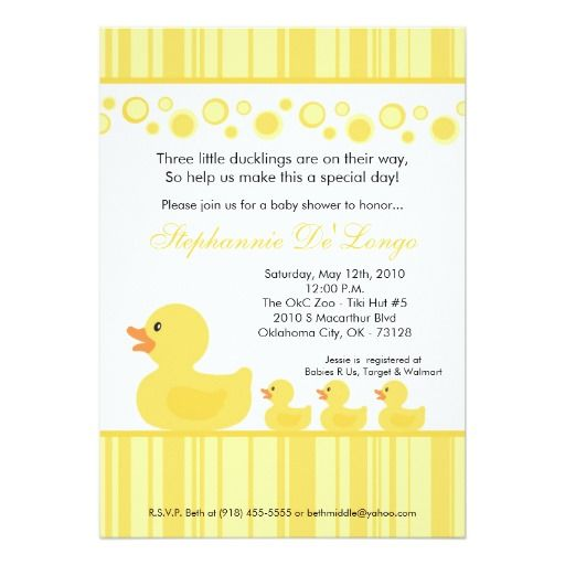 258 best triplets baby invitations images on pinterest shower 5x7 triplets rubber duck baby shower invitation filmwisefo Choice Image