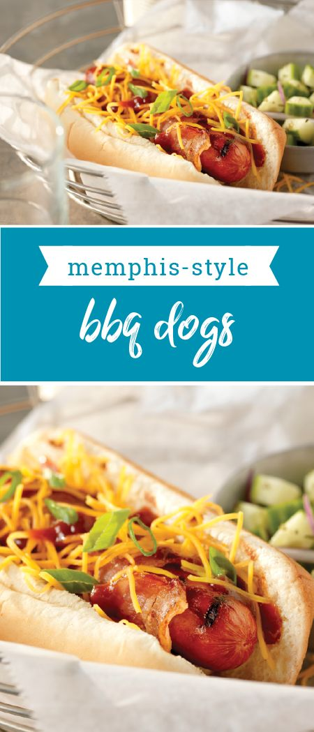 Memphis-Style BBQ Dogs – Wrapped in bacon and topped with HEINZ BBQ sauce, green onions, and shredded cheese, this recipe has a delicious down-home appeal. Did we mention that it's ready for your summer grill-out menu in just 20 minutes?