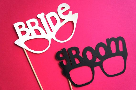 Photo Booth Props - Bride and Groom Glasses - Set of 2 - Weddings - Photobooth Props. $10.00, via Etsy.