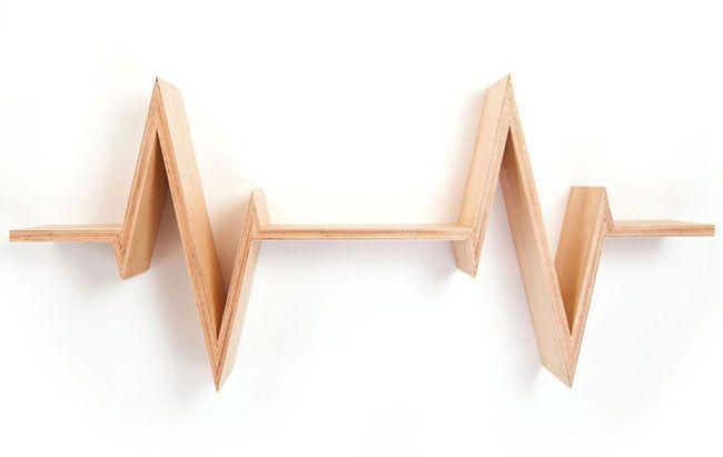 Etagere design bois  battements de coeur 4
