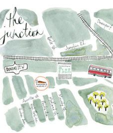 Toronto's Junction neighbourhood boasts a thriving food scene, craft breweries and a ton of vintage shops to satisfy a Saturday with nothing to do. Illustration by Emilie Simpson