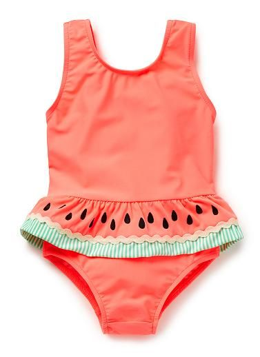 Nylon/Elastane blend Bather. Full suit in all-over Strawberries print will ruffles below belly. UPF 50 rating. Neat fitting silhouette. Available in colour shown.