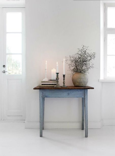 Table, Candles, white interior design